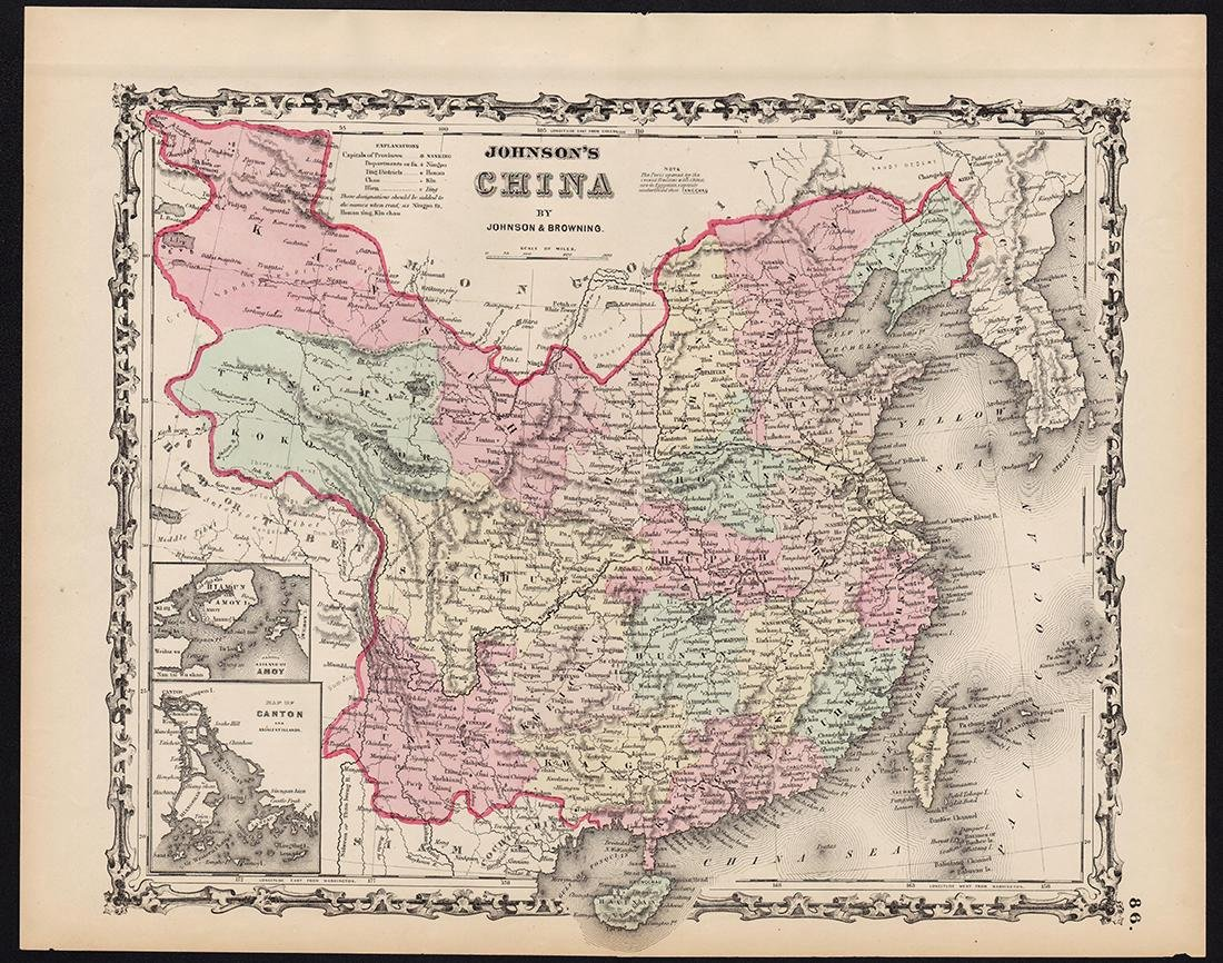 Johnson: Antique Map of China, 1861