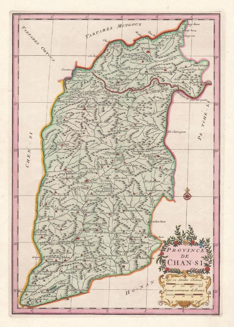 d'Anville: Antique Map of Shanxi Province, China, 1737