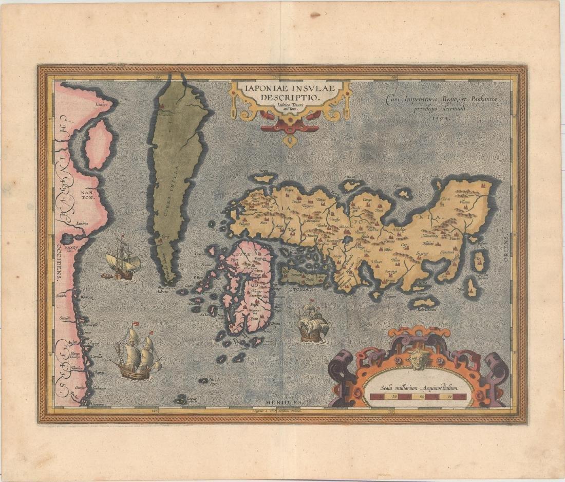 Ortelius: First Map of Japan in European Atlas, 1595 - 2