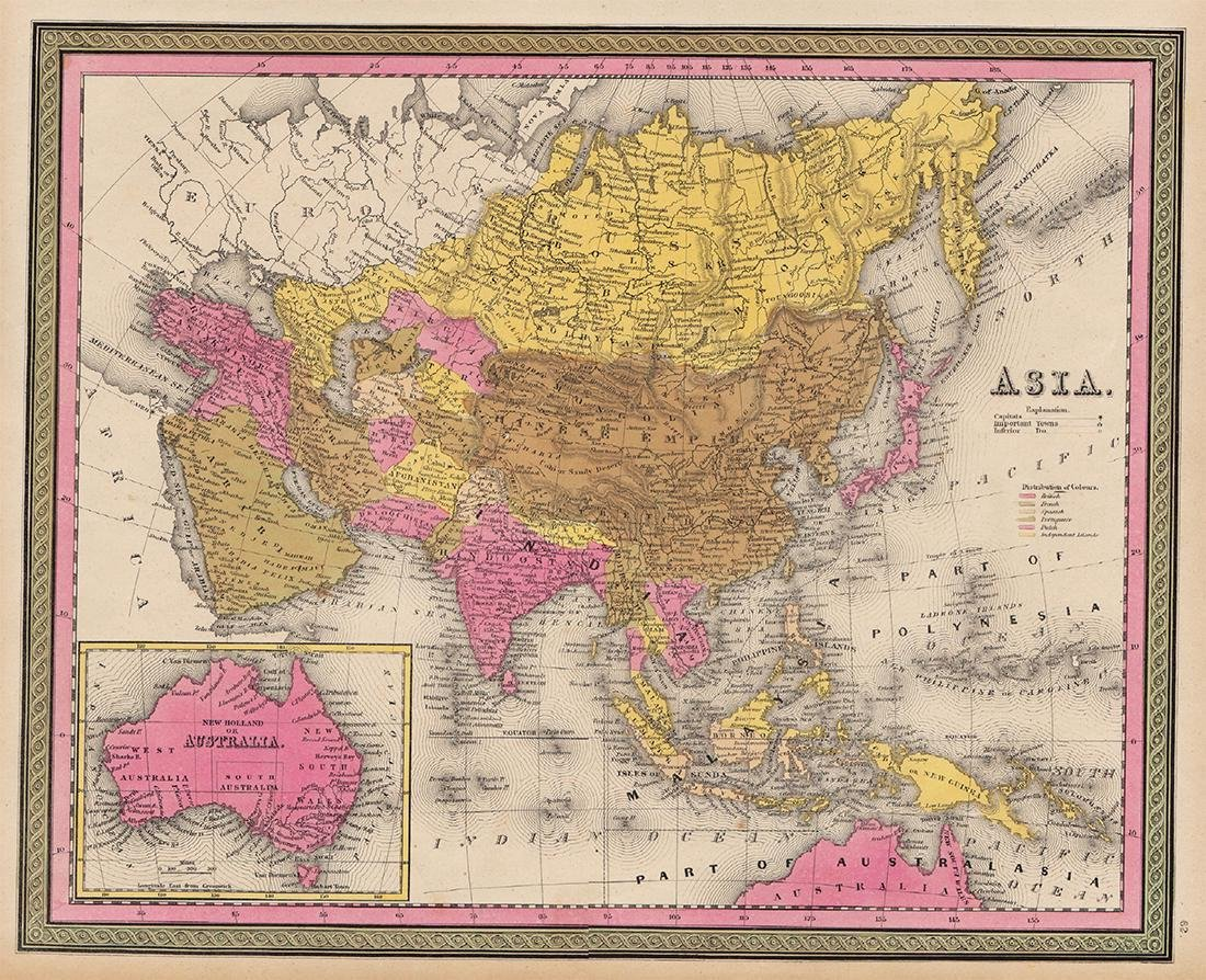 Mitchell: Rare Antique Map of Asia, 1848
