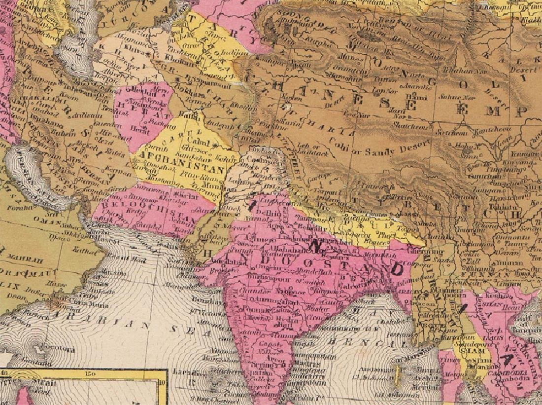 Mitchell: Rare Antique Map of Asia, 1848 - 2