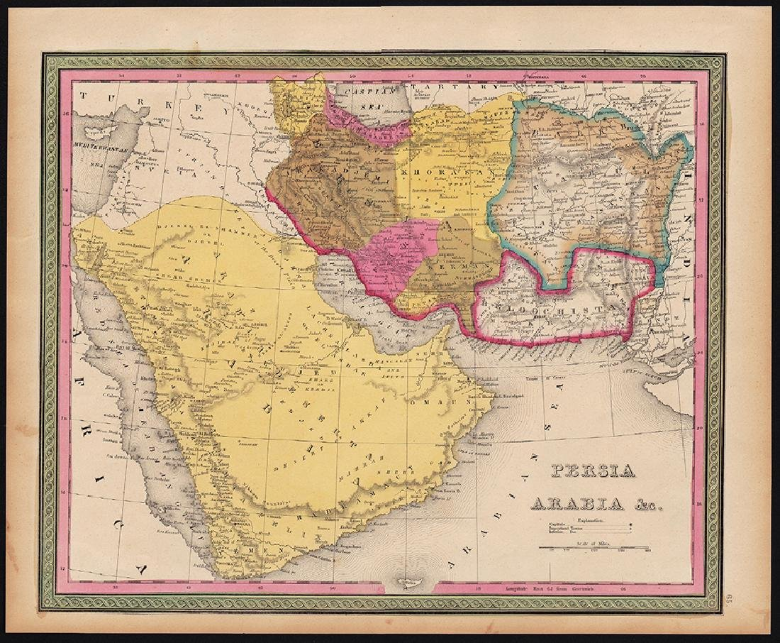 Mitchell: Antique Map of Persia, Arabia, 1848 - 4