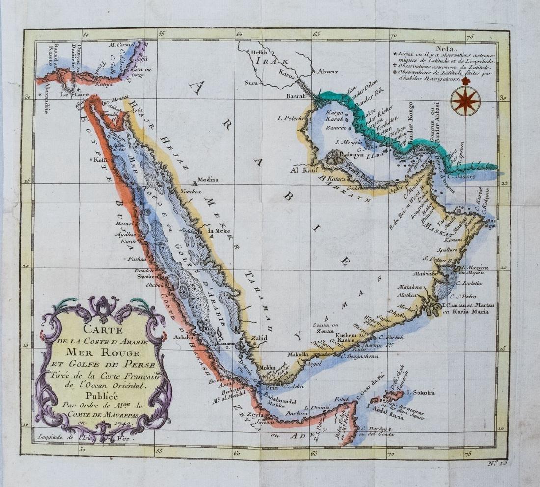 Bellin: Antique Map of Arabia & Red Sea, 1728
