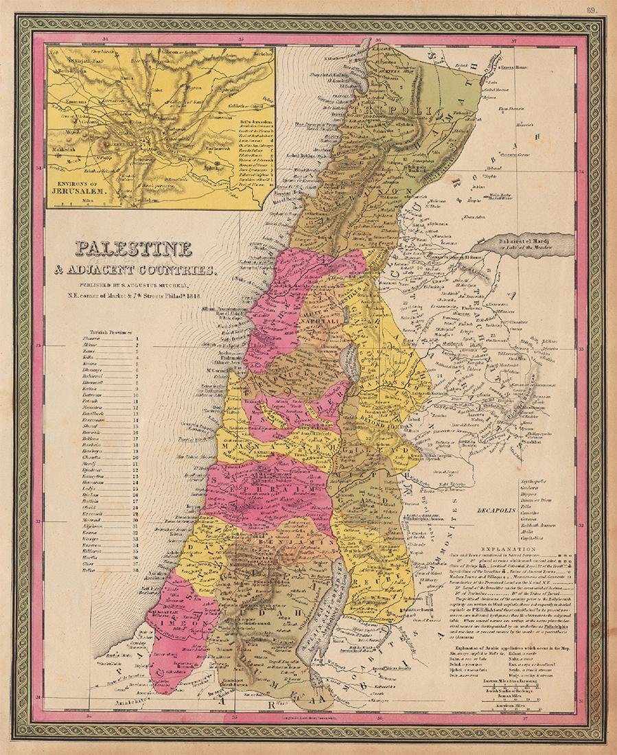 Mitchell: Antique Map of Palestine, 1848