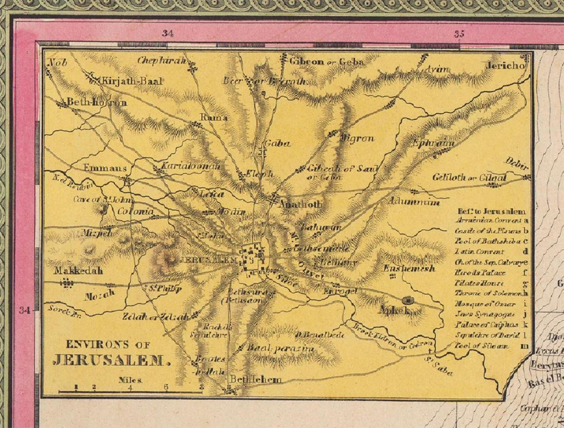 Mitchell: Antique Map of Palestine, 1848 - 3