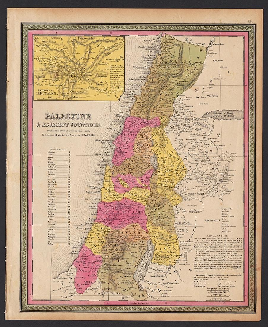 Mitchell: Antique Map of Palestine, 1848 - 4