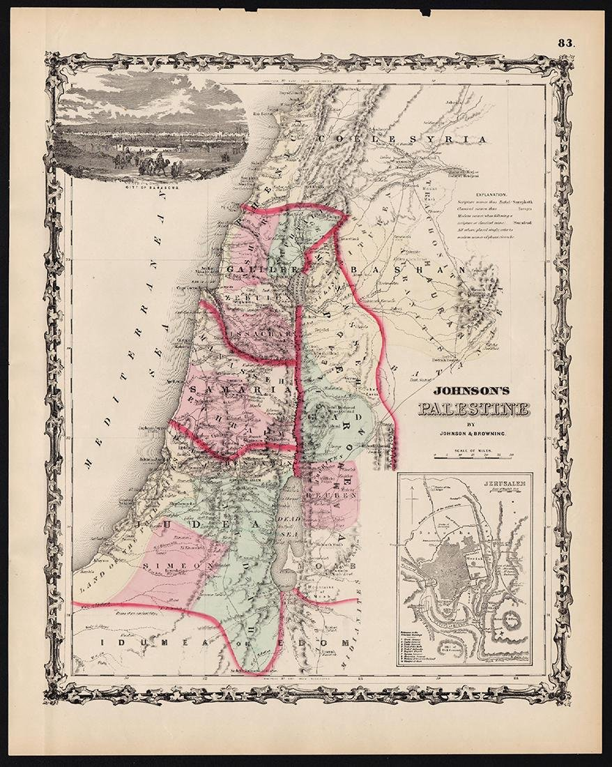 Johnson: Antique Map of Palestine, 1861