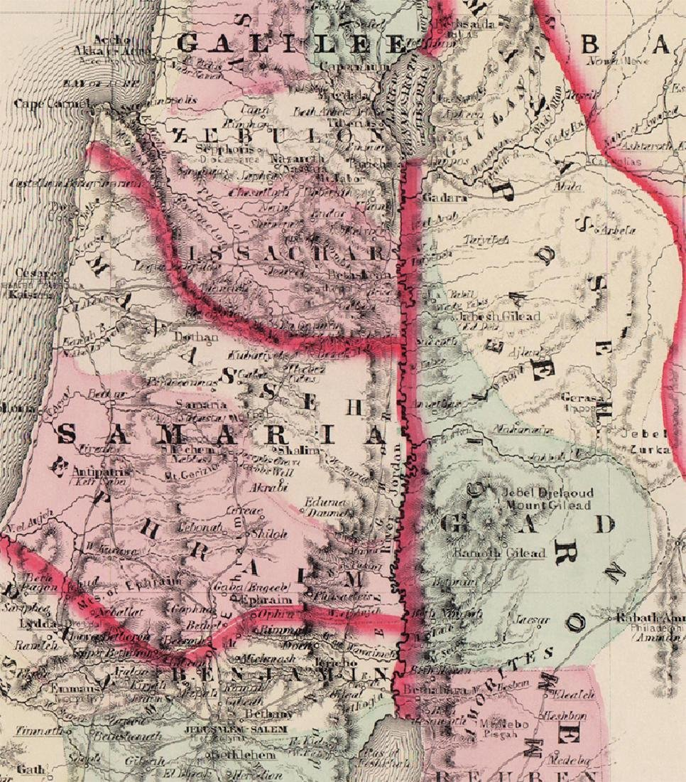 Johnson: Antique Map of Palestine, 1861 - 4