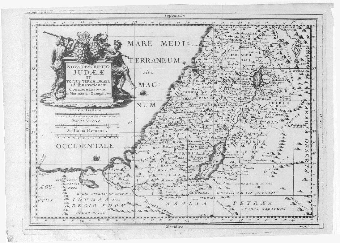 Berey / Ertinger: Antique Map of Judea / Israel, 1699