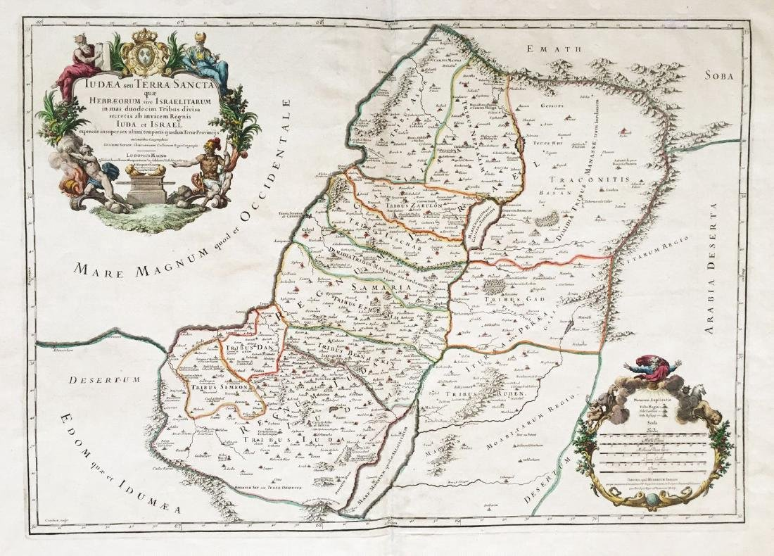 Jaillot: Antique Map of Judea or the Holy Land, 1709