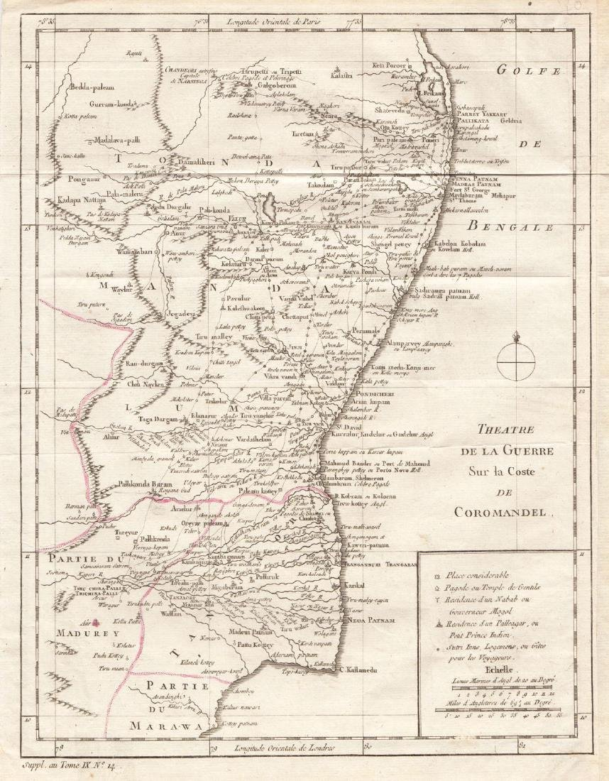 Bellin: Antique Map of Seven Year's War India, 1760
