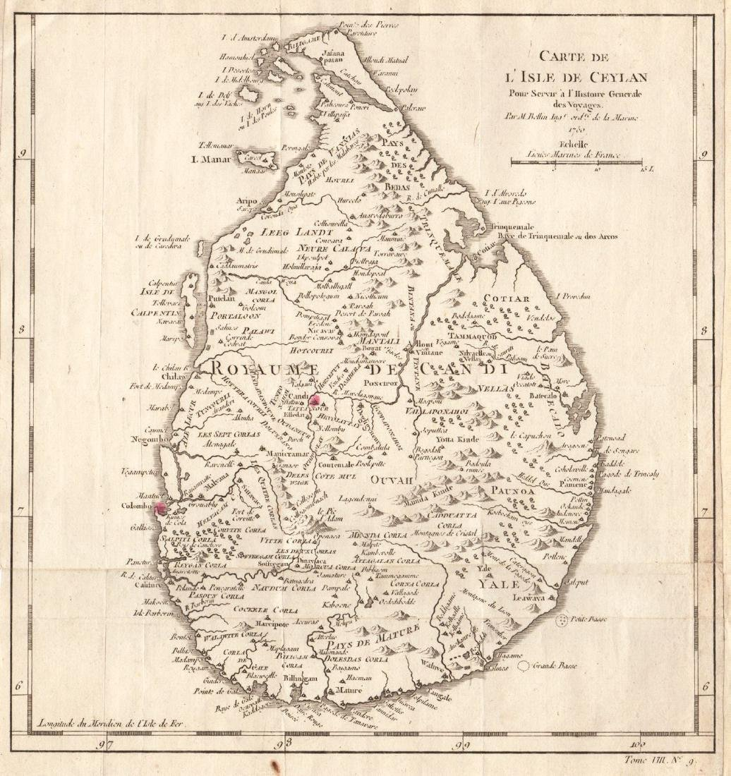 Bellin: Antique Map of Island of Ceylon, 1750