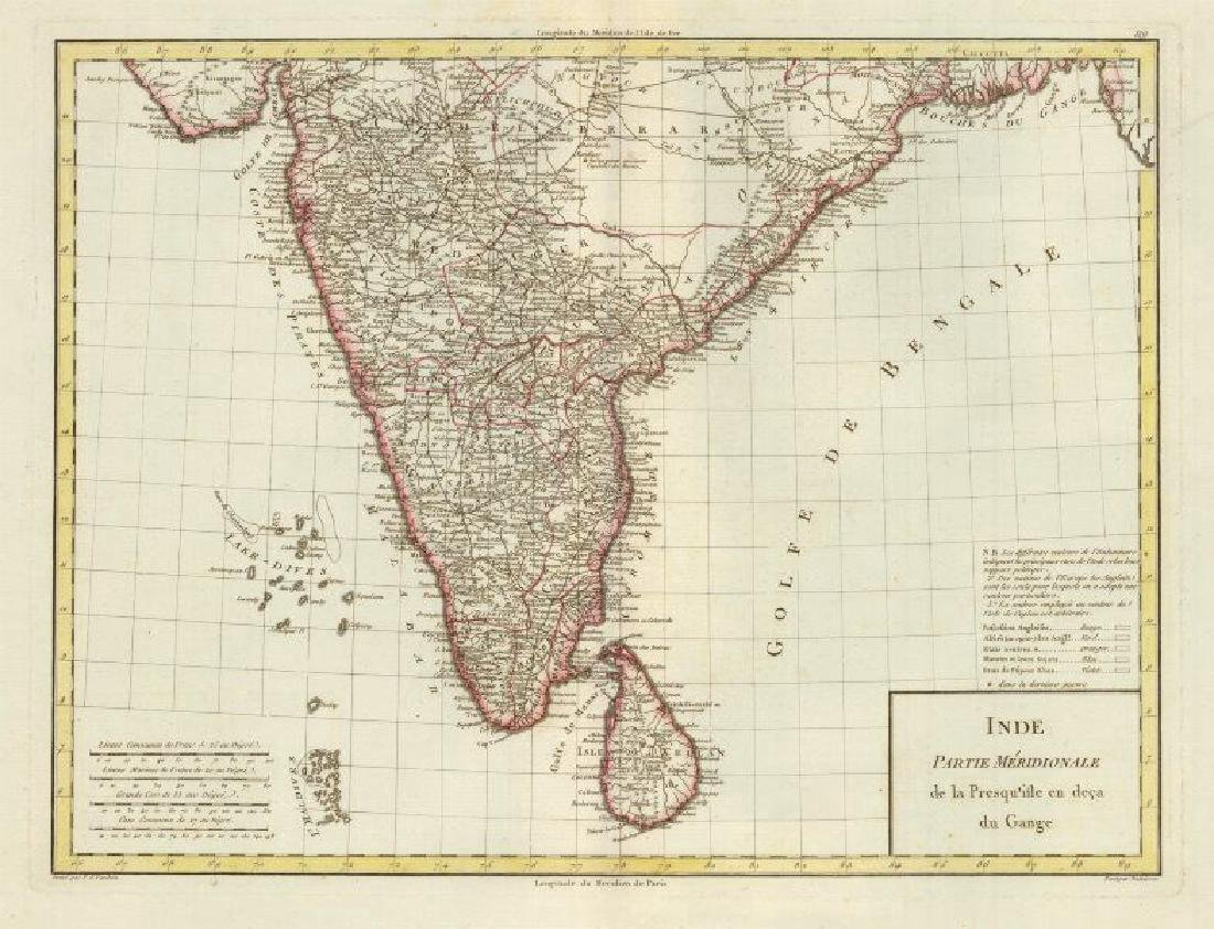 Tardieu: Antique Map of Southern India & Ceylon, 1795