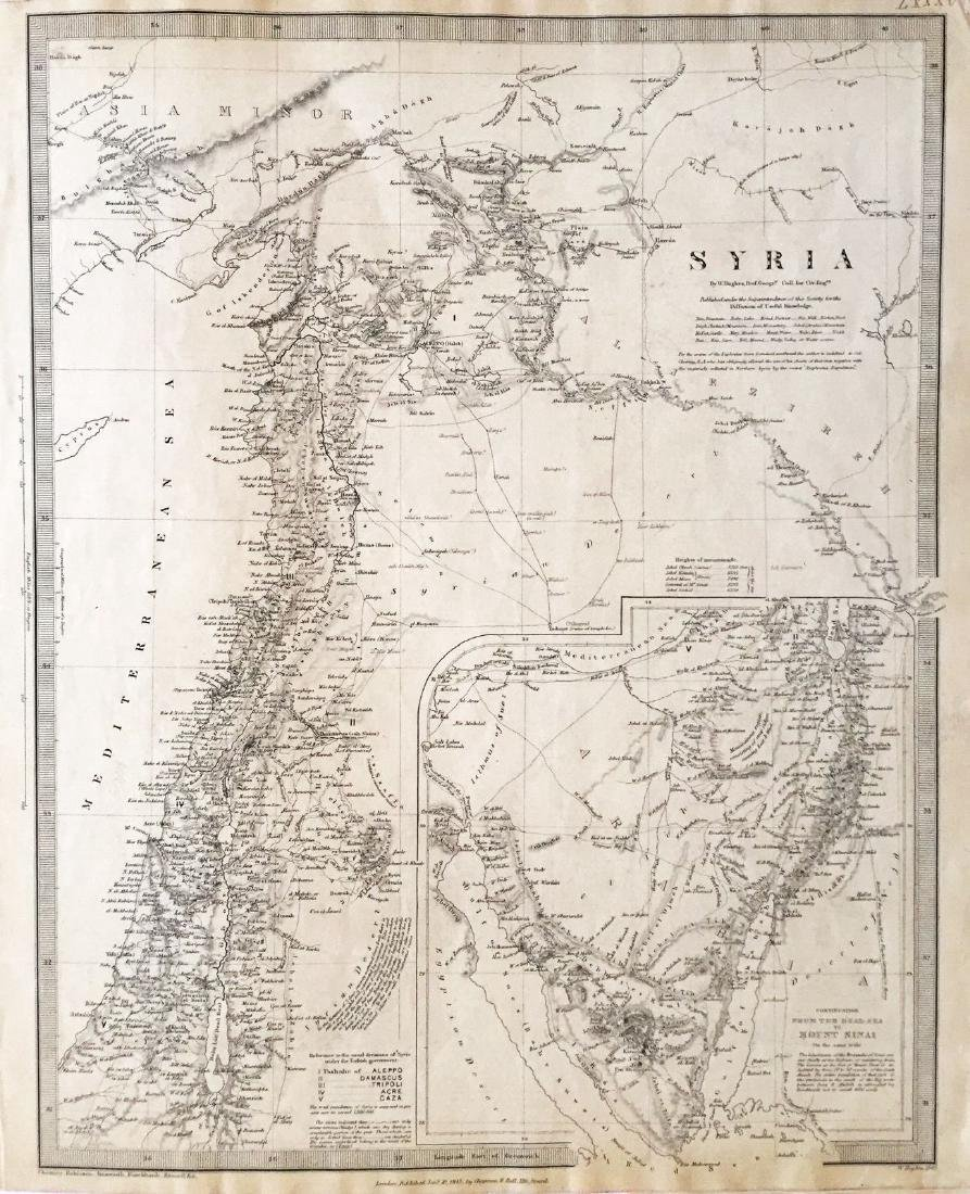 Chapman & Hall / SDUK: Antique Map of Syria, 1843