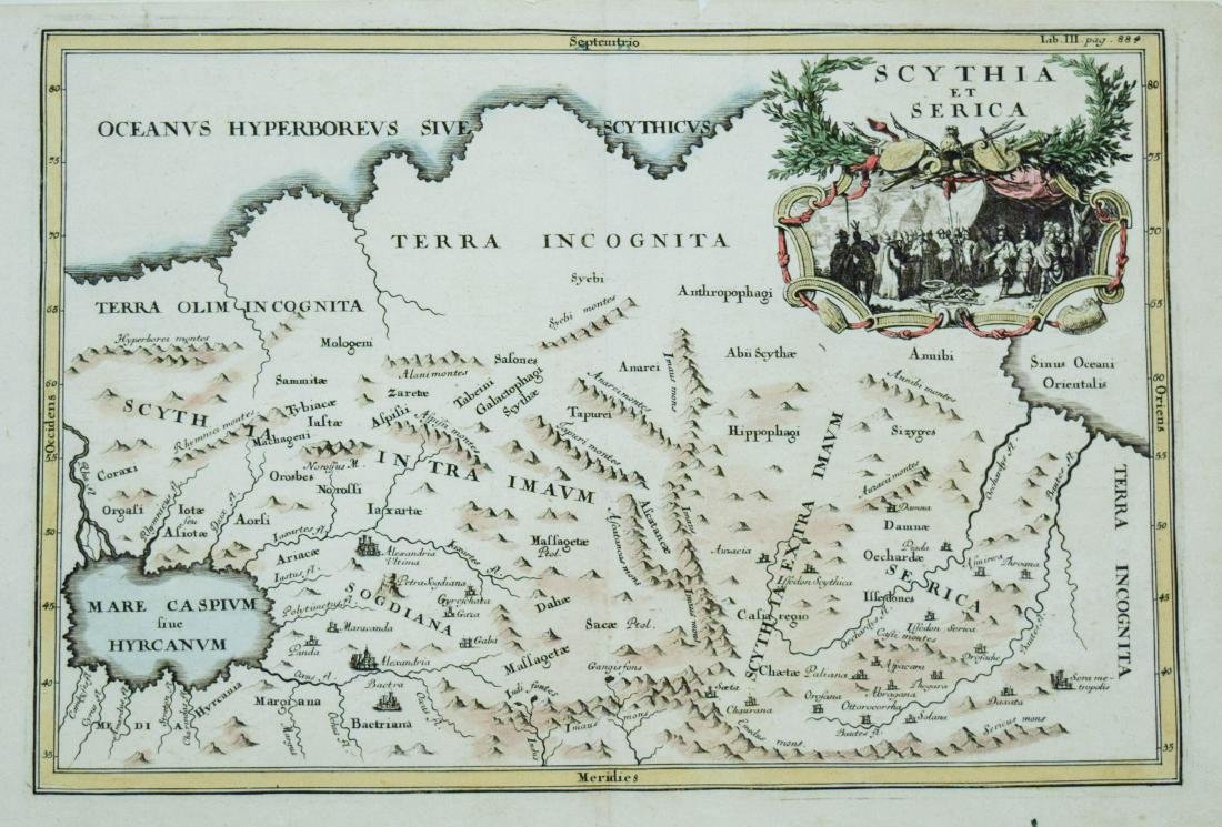 Cluver: Antique Map of Siberia from Caspian Sea, 1700