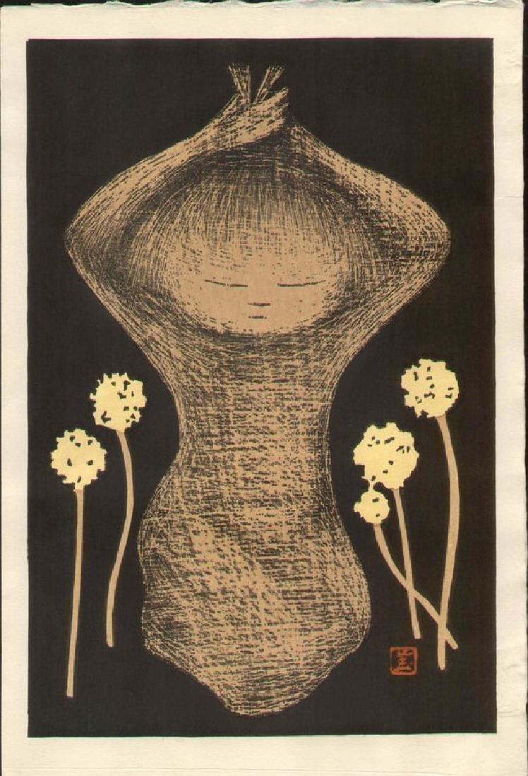 Kaoru Kawano Dandelions Japanese Woodblock Print