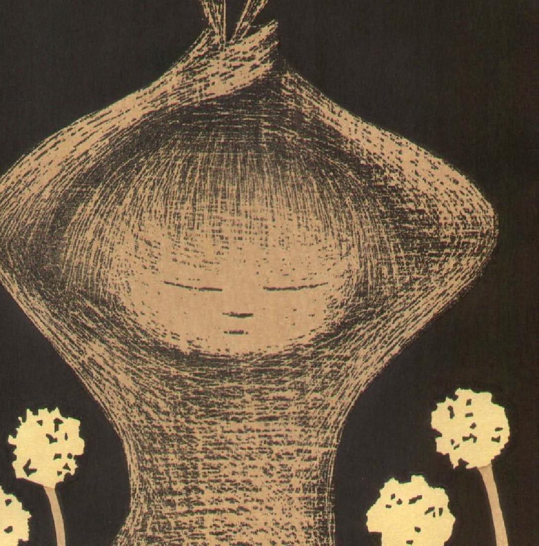 Kaoru Kawano Dandelions Japanese Woodblock Print - 2