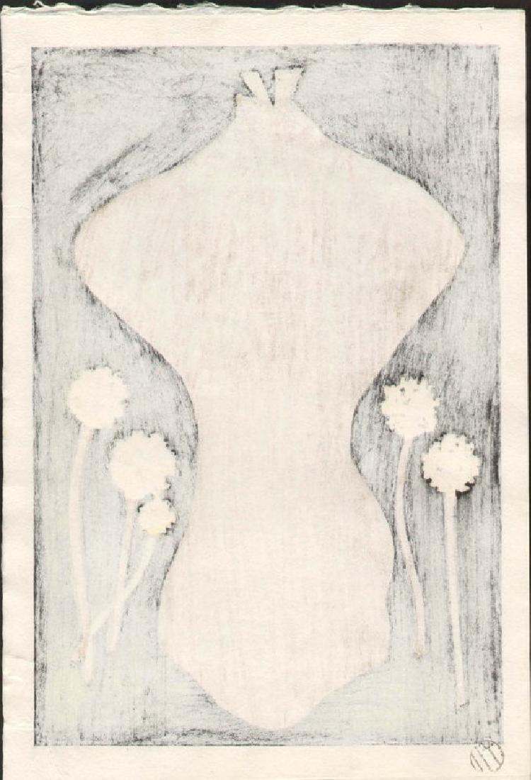 Kaoru Kawano Dandelions Japanese Woodblock Print - 4