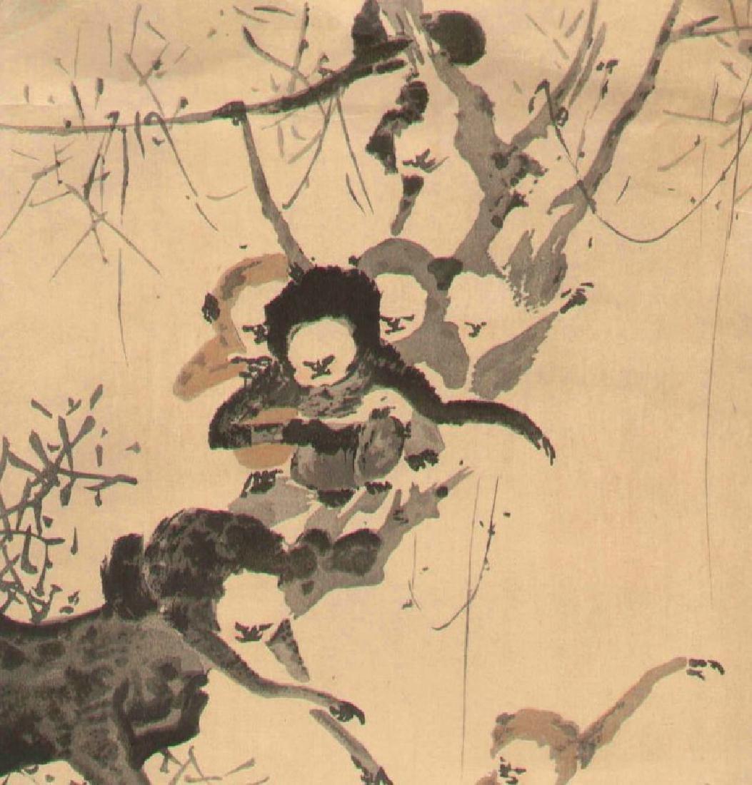 Morikage Kusumi Monkeys Japanese Woodblock Print - 3