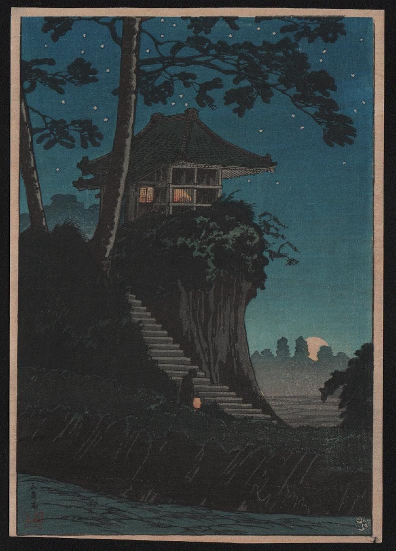 Takahashi Shotei Temple Japanese Woodblock Print
