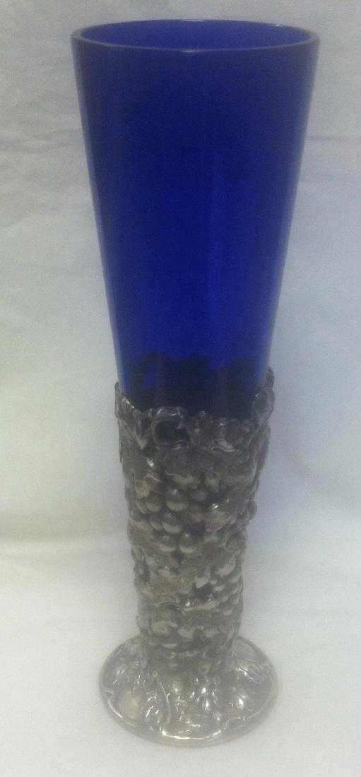 Antique Mauser Sterling Silver Cobalt Blue Glass Vase