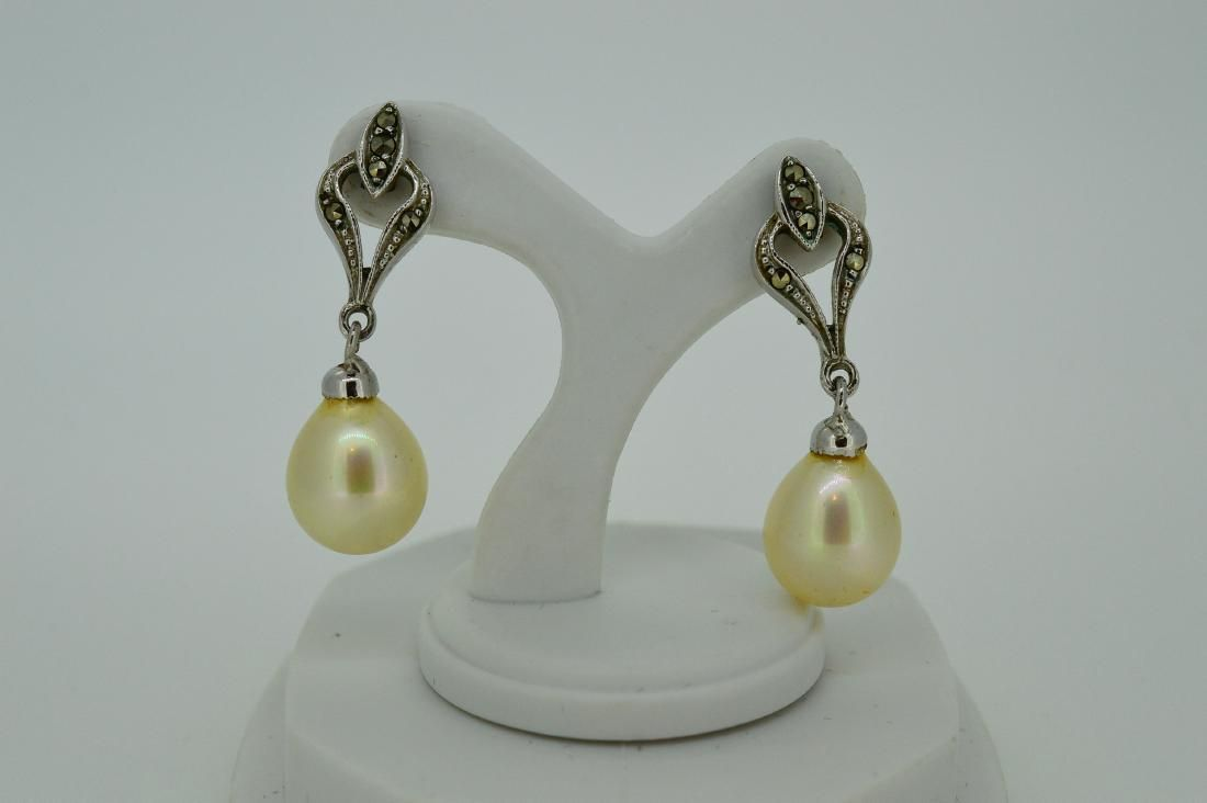 Sterling Silver Akoya Pearl Drop Earrings
