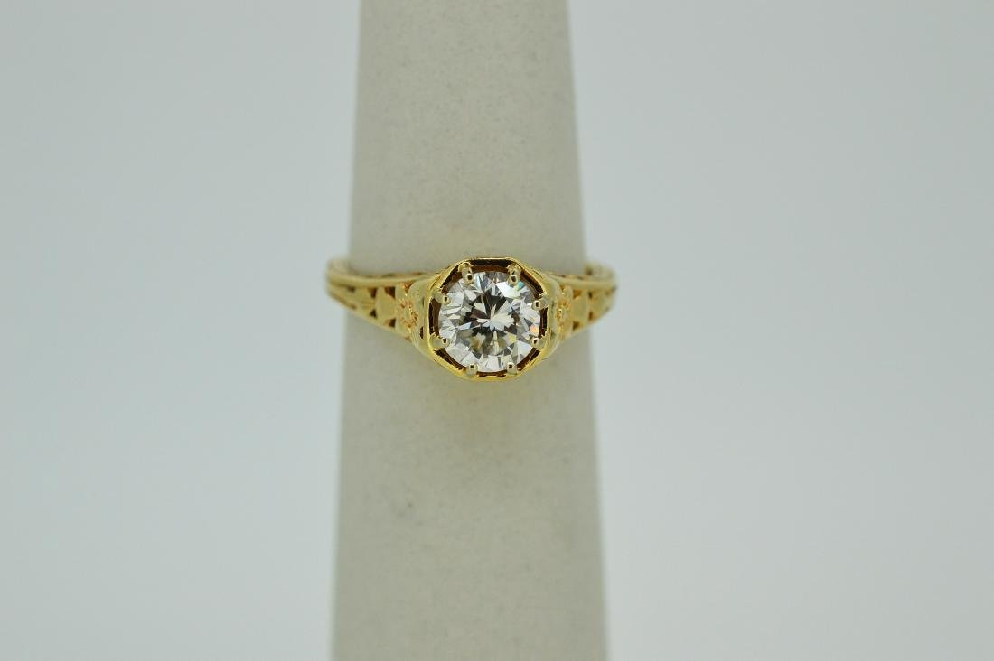 Antique Ladies 14K Yellow Gold Diamond Ring, .8ctw