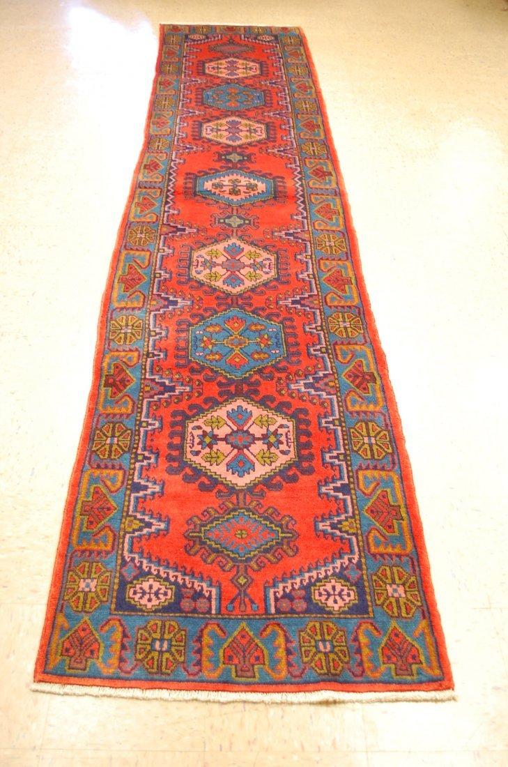 Antique Northwest Persia Vees Runner Rug 2.10x13