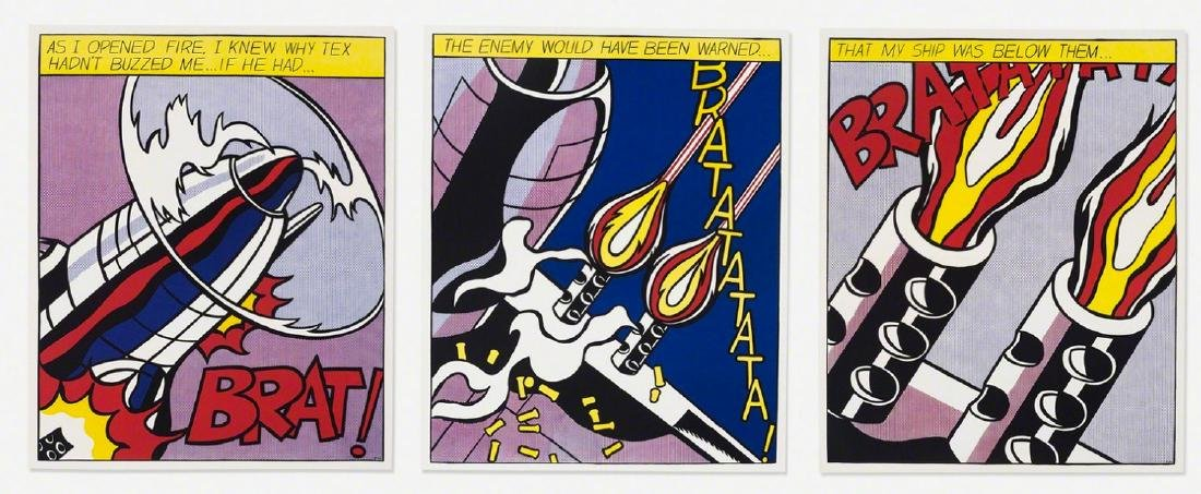 Roy Lichtenstein As I Opened Fire (Triptych) Lithograph