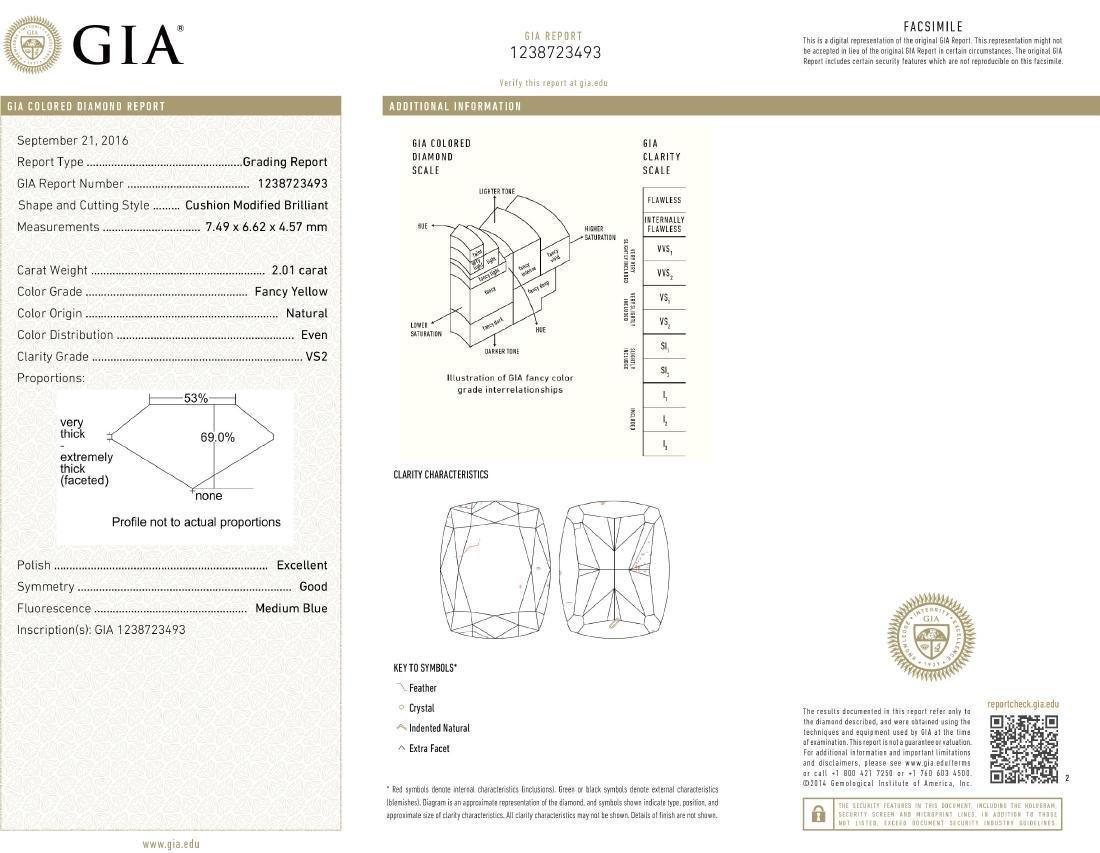Loose Stone 2.01 ct Natural Fancy Yellow GIA Diamond - 5