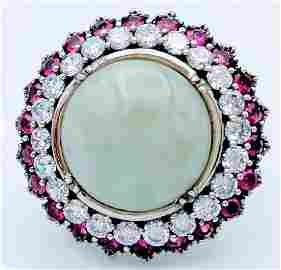 Sterling Silver Jade Pink Sapphire CZ Ring