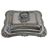 Georgian Shell & Gadroon Sterling Silver Covered Dish