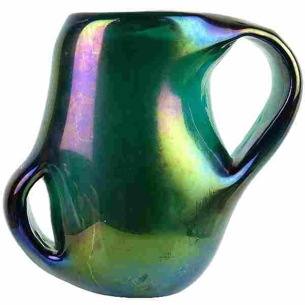 Giorgio Ferro Murano Anse Volante Italian Glass Vase