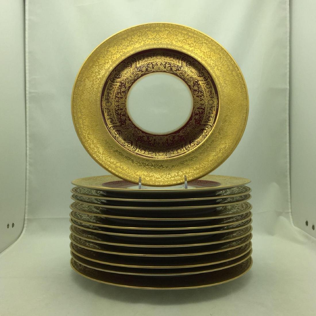 12 Heinrich Burgundy + Gold Large Service Plates
