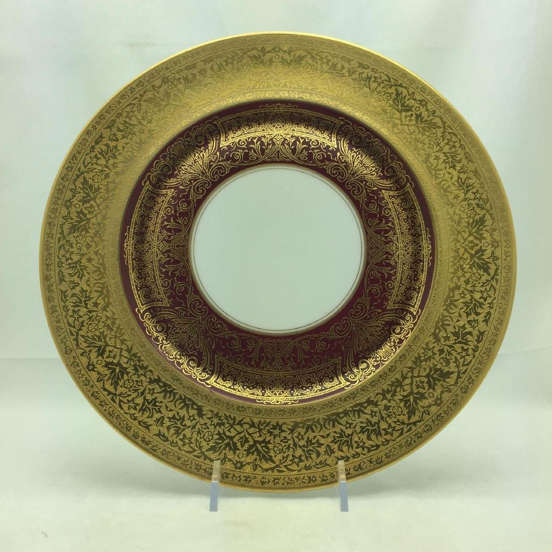 12 Heinrich Burgundy + Gold Large Service Plates - 3