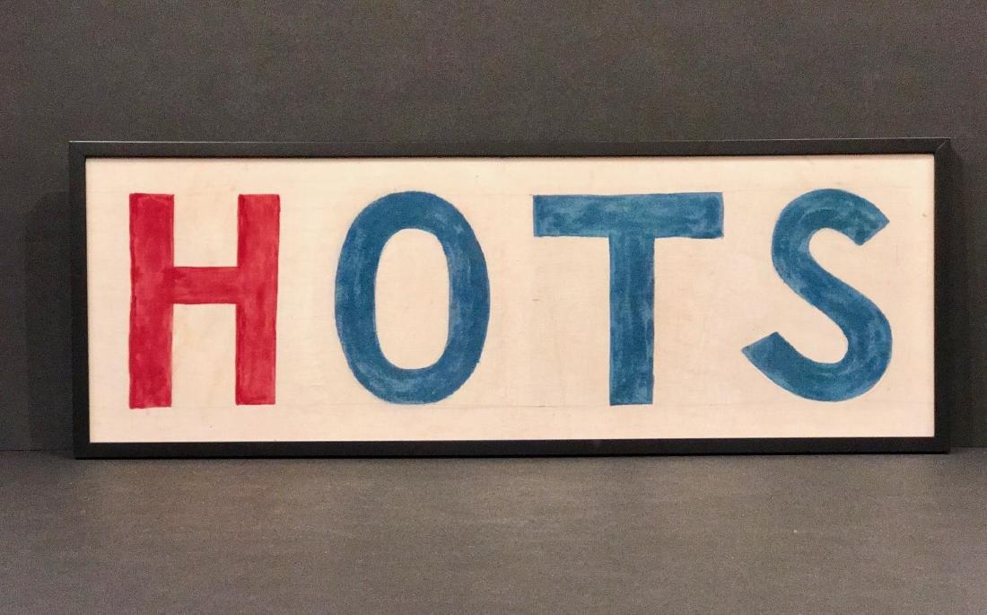 Hots Hot Dog Sign Circa 1940