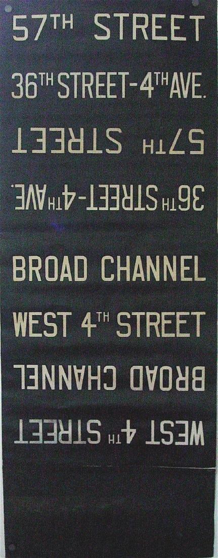 NYC Subway Cloth Destination Sign 1930 -1960