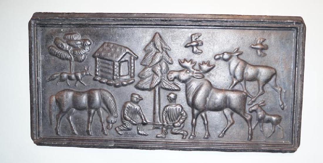 Cast Iron Stove Plate Lumberjack Scene 1940's
