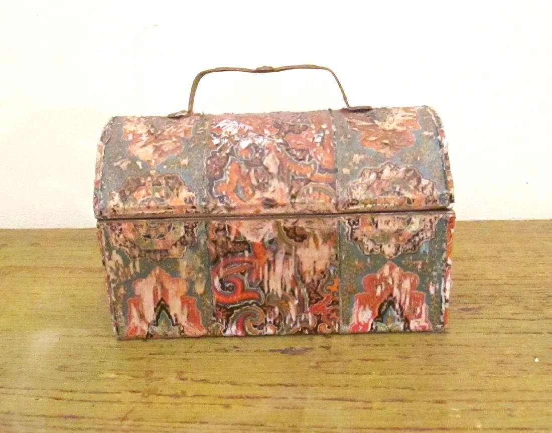 Early Miniature Dometop Wallpaper Box 19th Century