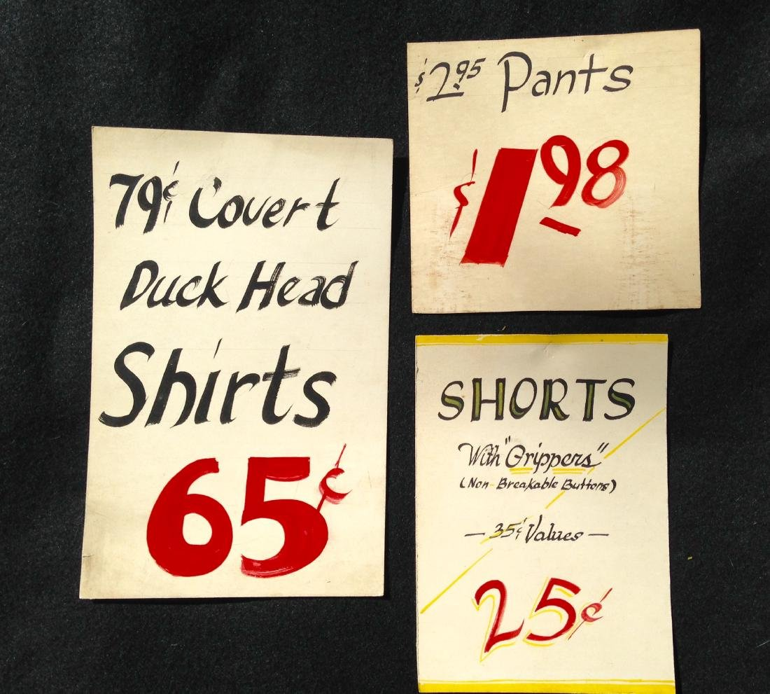 Three Mid 20th Century Hand Painted Store Signs