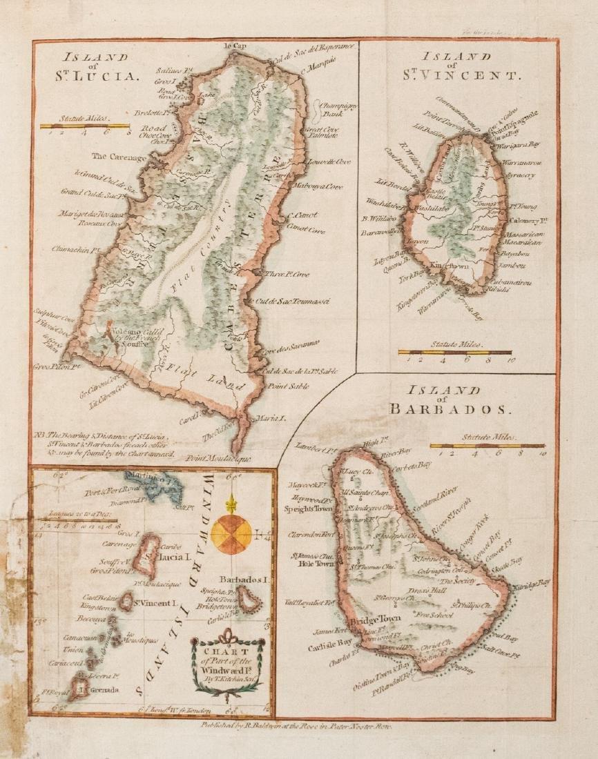 Baldwin/Kitchin: Antique Map of Windward Islands, 1782