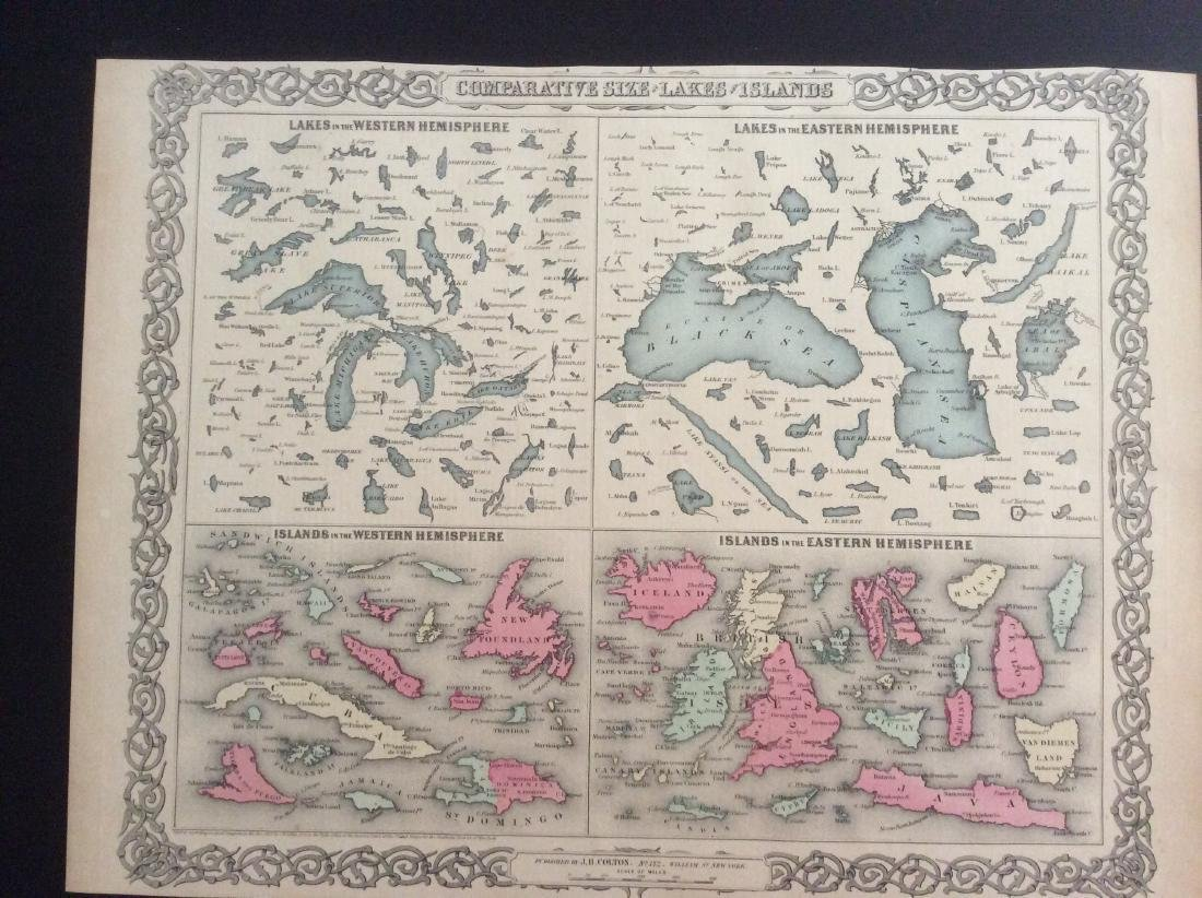 Colton: Antique Map of Islands & Bodies of Water, 1861