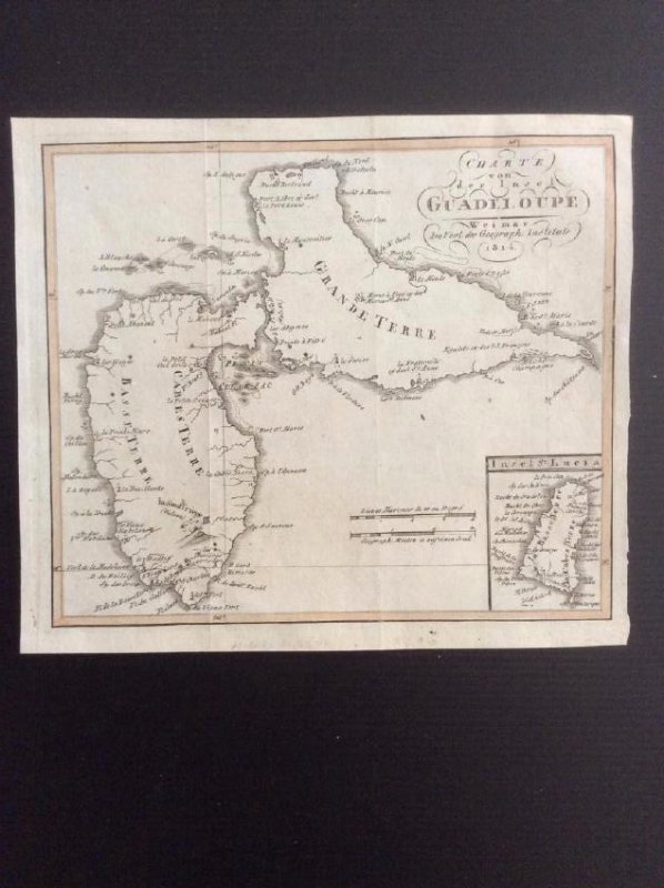 Weimer: Antique Map of Guadeloupe, 1814