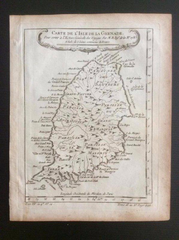 Bellin: Antique Map of Grenada, 1750s