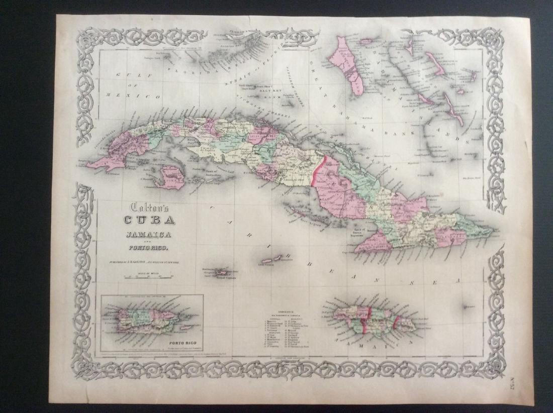 Colton: Antique Map of Cuba Jamaica & Puerto Rico, 1861