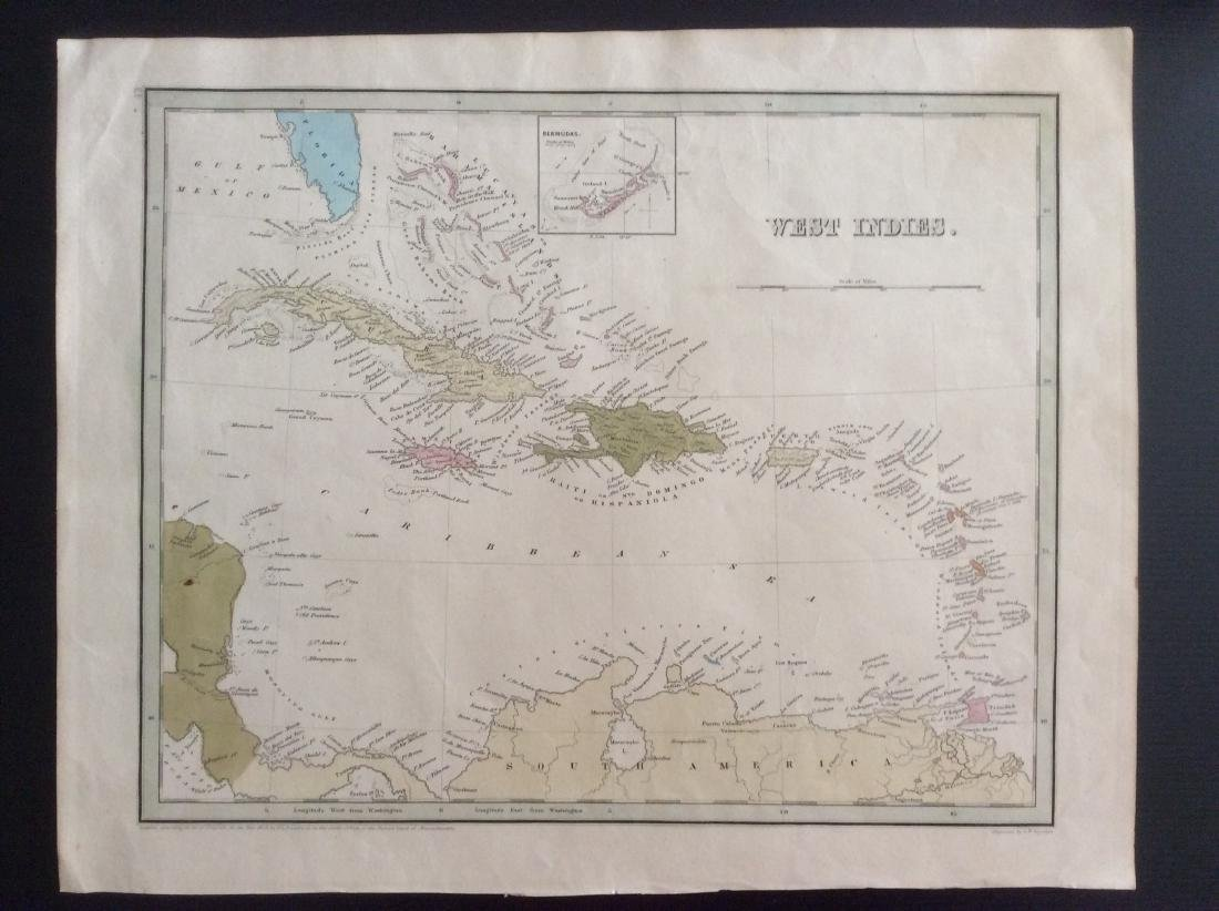 Bradford: Antique Map of the West Indies Islands, 1838