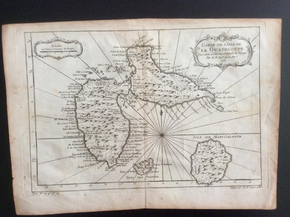 Bellin: Antique Map of Guadeloupe, 1750s