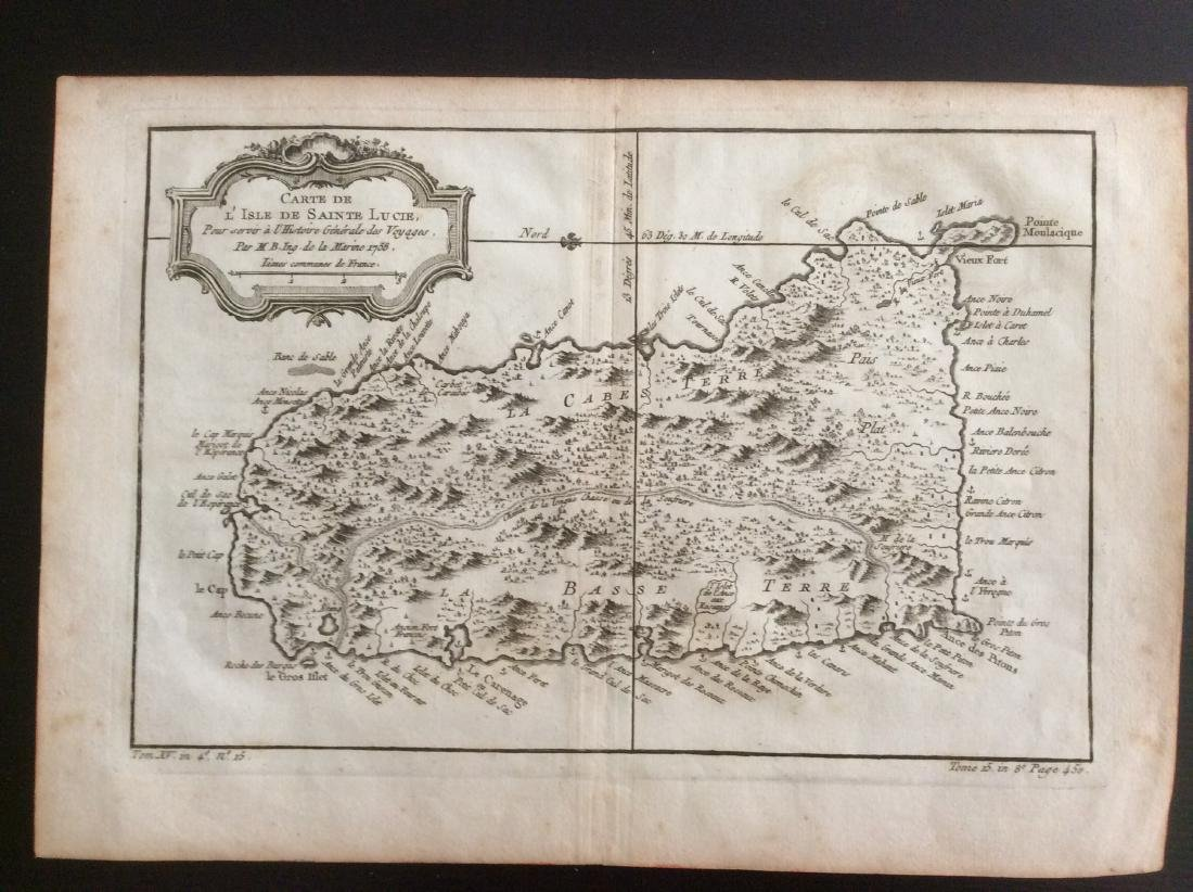 Bellin: Antique Map of St. Lucia, 1750s