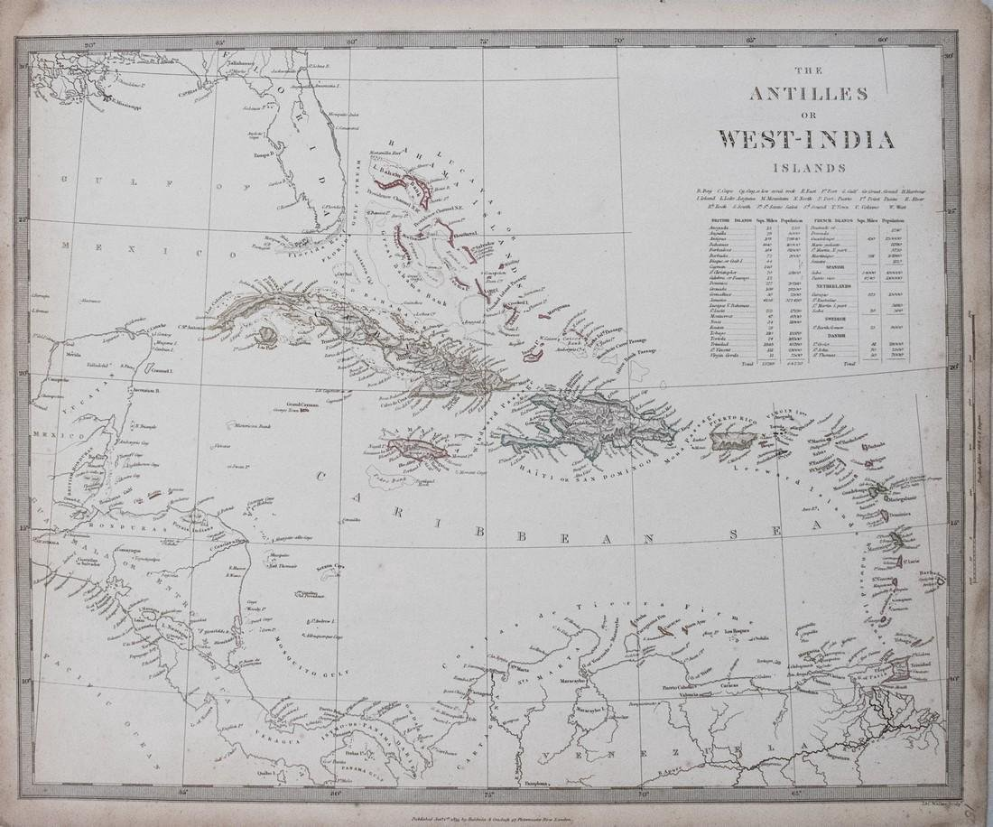 SDUK: Antique Map of the Caribbean, 1835
