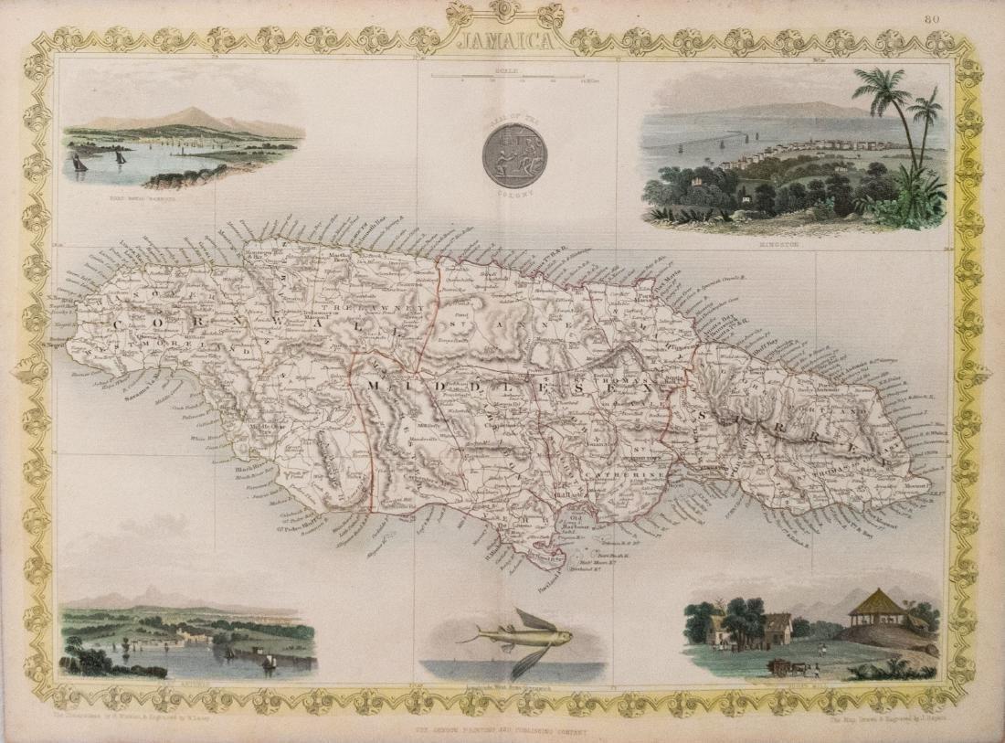 Tallis: Antique Map of Jamaica, 1855